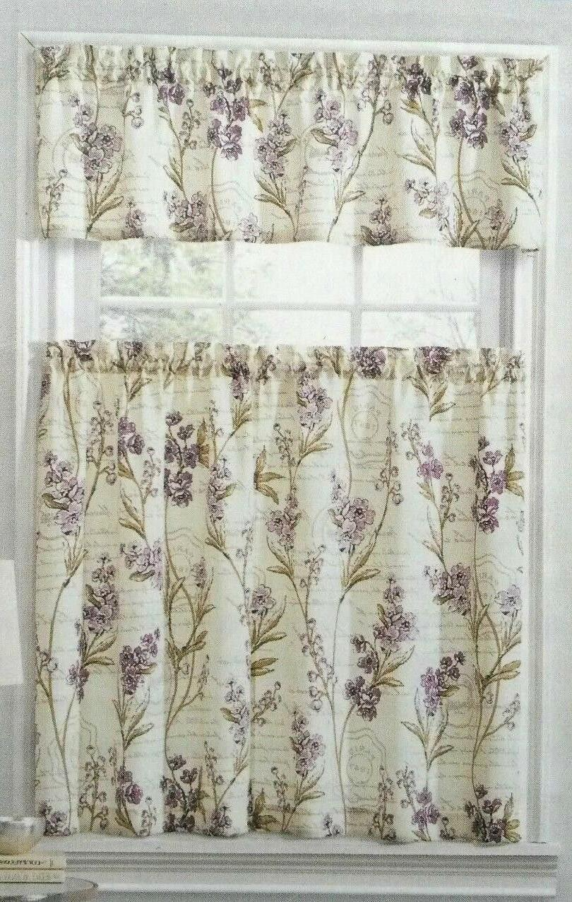 tier and valance curtain set scripted floral