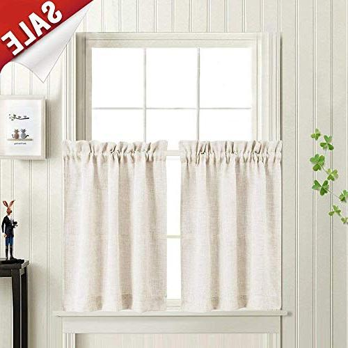 Tier Kitchen Curtains Linen Look Short Curtains for Bathroom Rod Pocket  Flax Rustic Crude Window Treatments 36 in Length 2 Panels