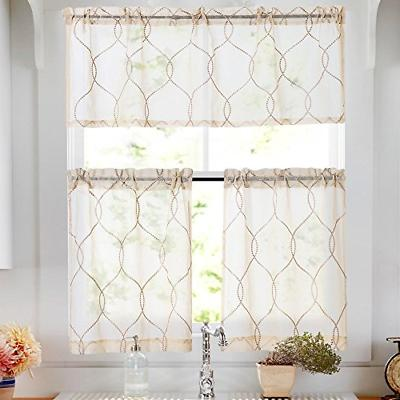 tier curtains beige embroidered set with valance