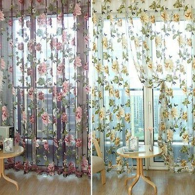 Transparent Cafe Floral Voile Curtain Home Decor