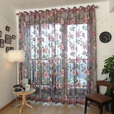 Transparent Butterfly Lace Kitchen Cafe Floral Curtain Home