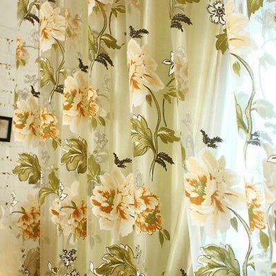 Transparent Cafe Floral Voile Curtain Home