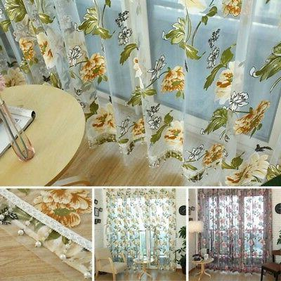 Transparent Cafe Floral Curtain Decor