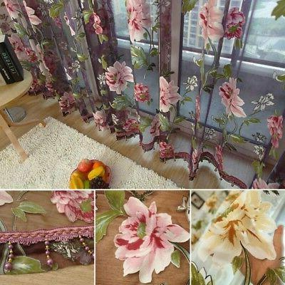transparent butterfly lace kitchen cafe floral voile