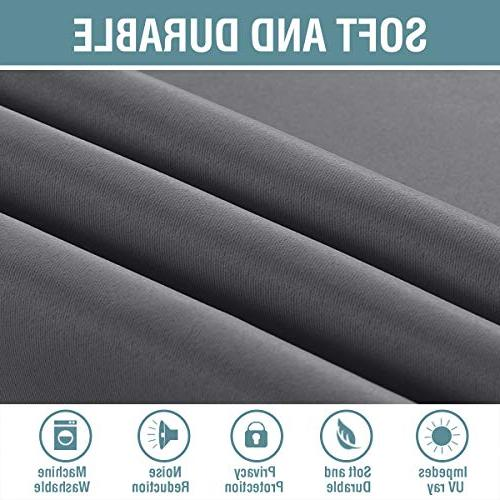 H.VERSAILTEX Curtains Inches Gray Curtain Window Panel Drapes Blackout for Living Grommet Curtains for