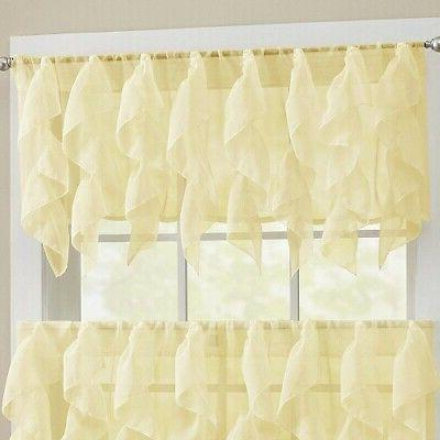 Sweet Home Collection USB Cable Kitchen Window Tier Curtain