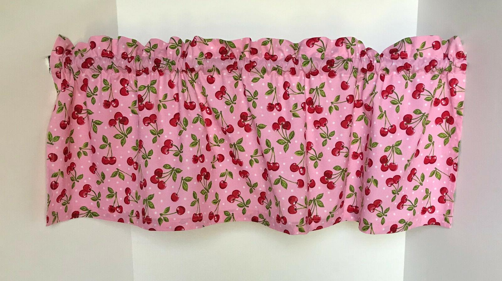 Valance Pink with Retro Style Print Curtains