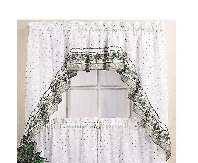 Curtains With Valance Swag Country Window Kitchen Tier