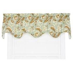 Valerie Jacobean Floral Lined Scallop 70 Curtain Valance, Sp