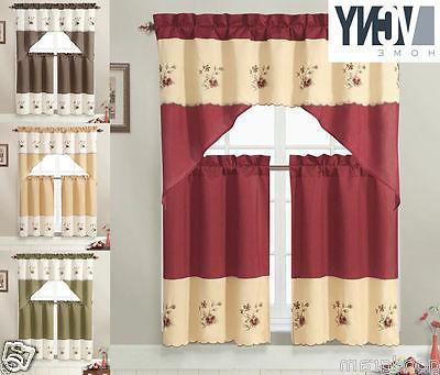 VCNY Home Nancy Embroidered Kitchen Curtain Set - Assorted C