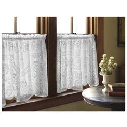 Victorian Rose Tier Curtain, White
