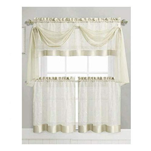 Vine Curtain 1 Valance with Voile Tier