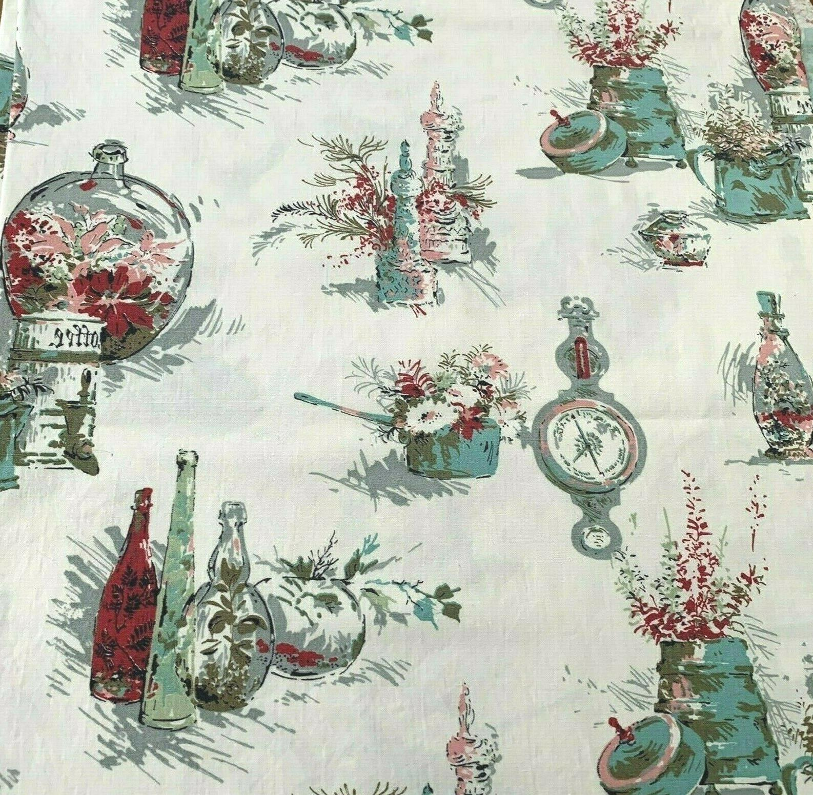 Vintage Fabric Red Green Gray Mid Century Kitchen Yds.
