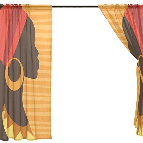 ALAZA Voile Curtain Silhouette Girl with Earrings Door Way Tulle Drapes for Living Kitchen inch, of