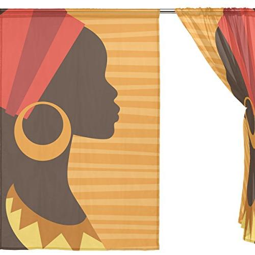 ALAZA Window Curtain Silhouette Girl with Earrings Door for Room Kitchen of