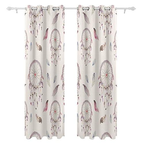 ALIREA And Feather Blackout Curtains Thermal Polyester Grommet Curtain for Room,2