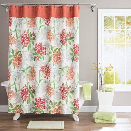 watercolor floral fabric shower curtain