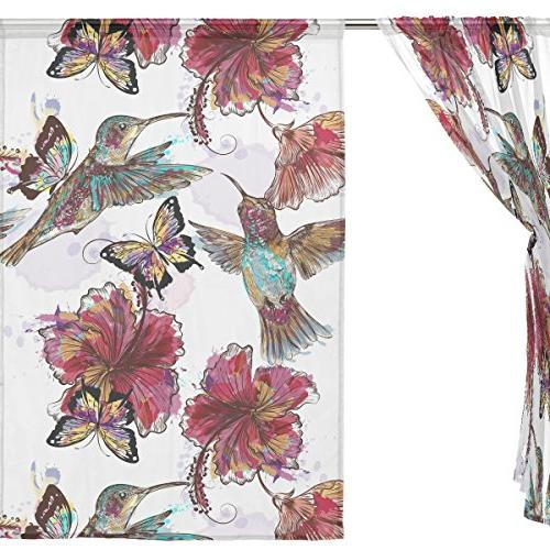 ALIREA Watercolor Floral Butterflies Curtain Panels Tulle Treatment Bedroom Living Room Home Decor, 55x78 Panels Set