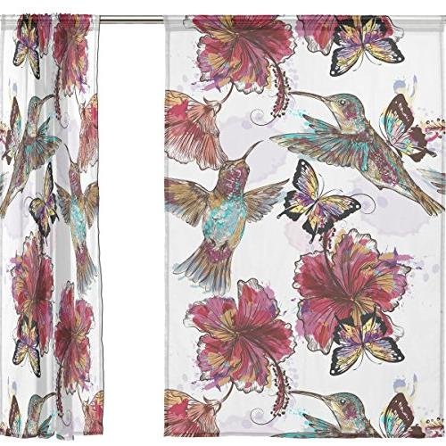 ALIREA Hummingbirds Butterflies Sheer Tulle Polyester Window Treatment Panel Curtains Bedroom Room Decor, 55x78 Panels Set
