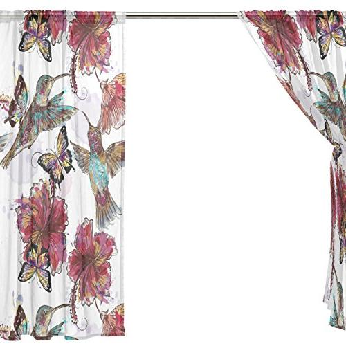 ALIREA Butterflies Sheer Tulle Polyester Treatment Panel For Bedroom Living Decor, inches, Panels