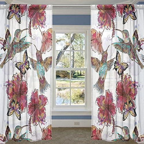 watercolor floral hummingbirds butterflies sheer