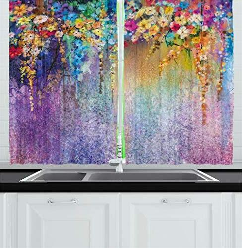 Ambesonne Kitchen Curtains Vintage Art Girl Ritual Ceremony Image, Window Panels Set Cafe, 55 W 39 L Amber