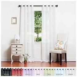 White Crushed Voile Sheer Grommet Top Curtain 84 L Pair - SL