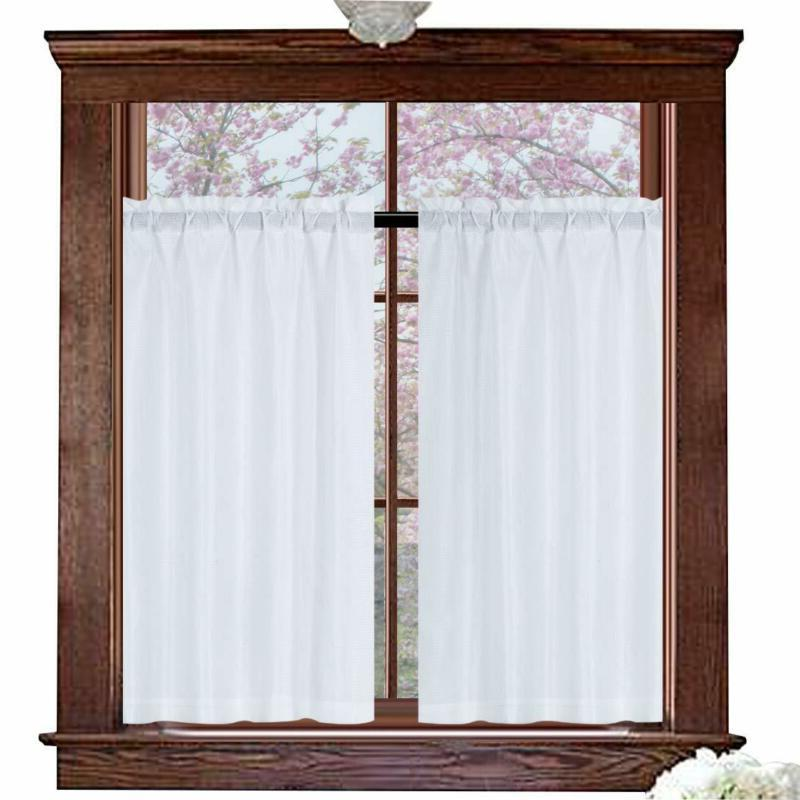 white curtains 45 inch long casual weave