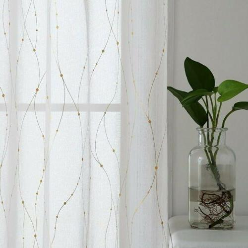 Deconovo Sheer Curtains 63 Gold Voile Wave Line with Dots