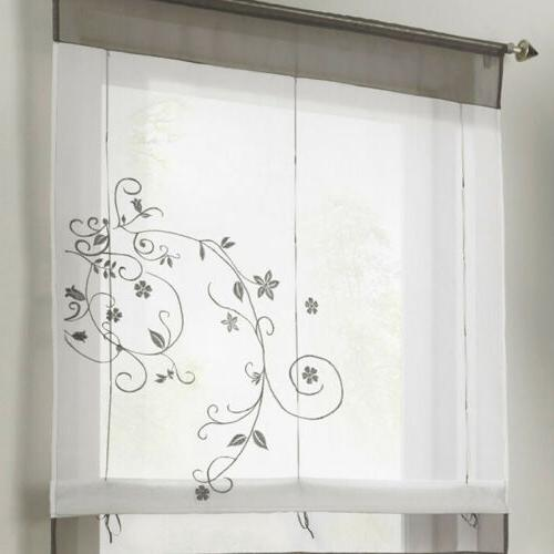 Window Curtain Checked Sheer Voile Kitchen Cafe Lace Valance