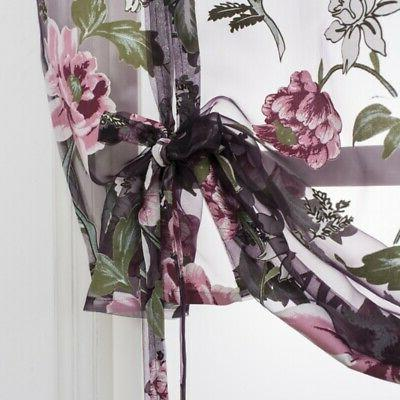 Kitchen Curtains Floral Sheer
