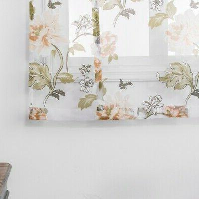 Kitchen Bathroom Window Roman Curtains Floral Voile Tulle Rod