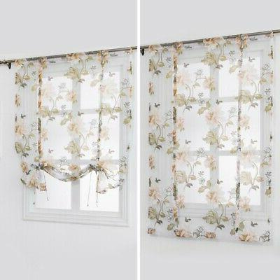 Kitchen Bathroom Window Roman Curtains Sheer Tulle Rod
