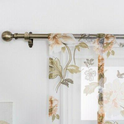 Kitchen Roman Curtains Floral Tulle Rod Valances