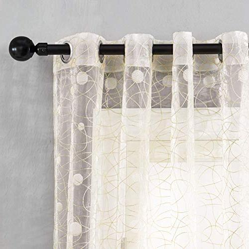 Top Sheer Embroidered Dot Curtains Grommet Bedroom Living Inch,Beige,Set