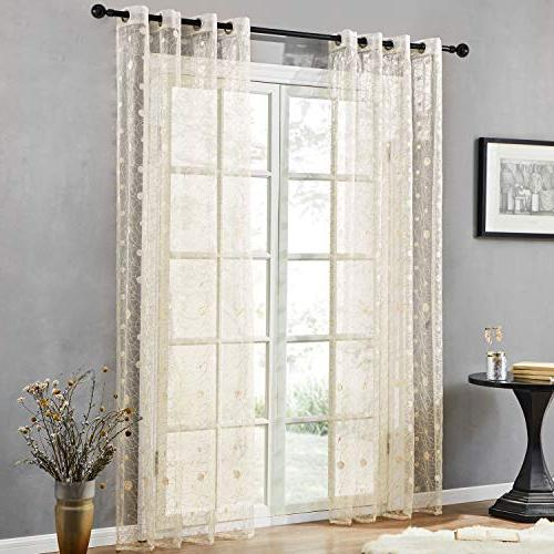 Top Finel Wide Voile Sheer Embroidered Curtains for Bedroom Room,54X84 Inch,Beige,Set of