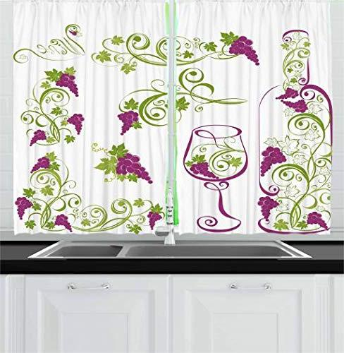 Ambesonne Wine Wine and Grapevines Branches 2 Panel Set for Kitchen X L