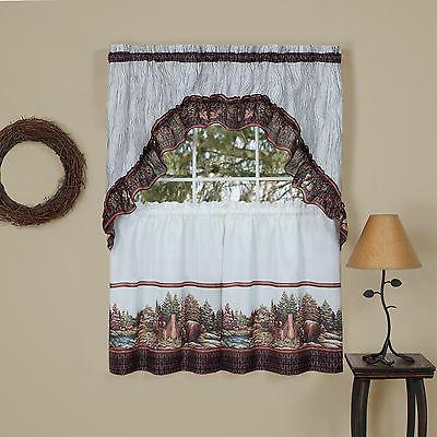 woodlands wilderness tier and swag kitchen curtain