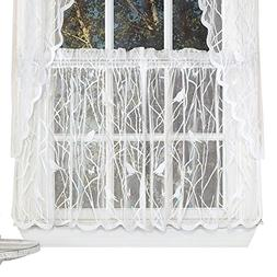 Collections Etc Lace Window Café Curtain Tiers with Songbir