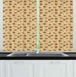 "Ladybug Kitchen Curtains 2 Panel Set Window Drapes 55"" X 39"""