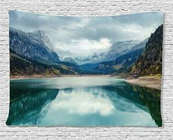 Ambesonne Lake House Decor Tapestry, Alpine Lake with Dramat