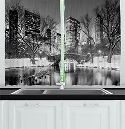 Ambesonne Landscape Kitchen Curtains by, Cityscape New York
