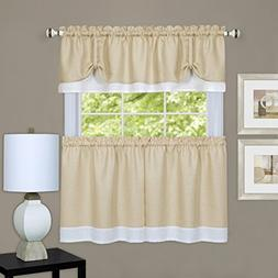 Lauren Elegance Double Layered 3 Piece Tier  and Valance  Se