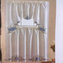 LAUREN LILI FLOWERS EMBROIDERED KITCHEN CURTAIN 3 PCS SET BL