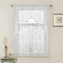 Lena Floral Lace Complete Kitchen Curtain Tier & Swag Set -