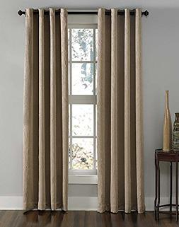 "Curtainworks Lenox Grommet Curtain Panel, 50 by 84"", Taupe"