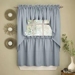 Light Blue Opaque Solid Ribcord Kitchen Curtains Choice of T