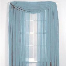 Gorgeous Home 3PC LIGHT BLUE VOILE SHEER WINDOW CURTAIN SET