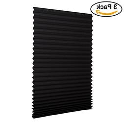 Sunfree 3 Pack Light Filtering Pleated Fabric Shade Black,Qu