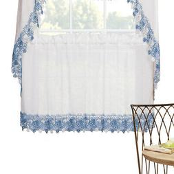 Lillian Floral Lace Trim Window Curtains with Rod Pocket on
